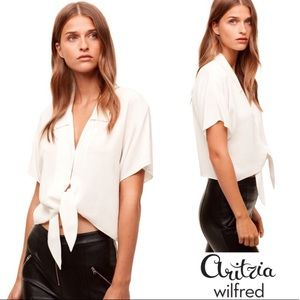Aritzia Wilfred Huang White front tie blouse